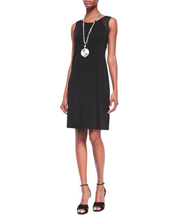 Gossamer Crepe Wrap Cardigan & Sleeveless Silk Jersey Dress, Petite