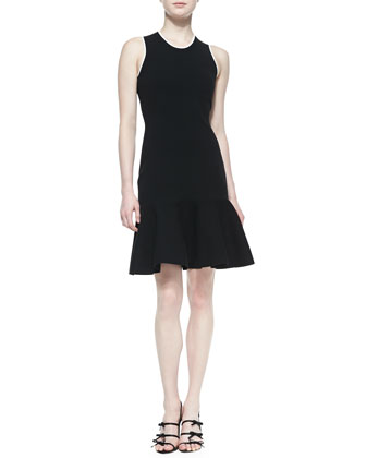 sleeveless fluted sweater dress, black