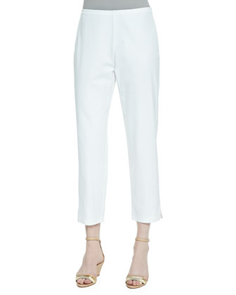 Handkerchief Linen V-Neck Shirt, Twill Slim Ankle Pants & Color-Tipped ...