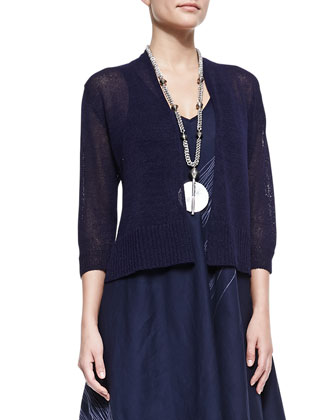 3/4-Sleeve Cropped Cardigan & Sleeveless V-Neck Asymmetric Dress, Petite