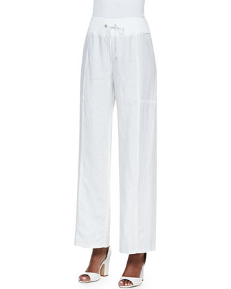 Organic Linen Wavy-Stitch Top & Wide-Leg Pants, Petite