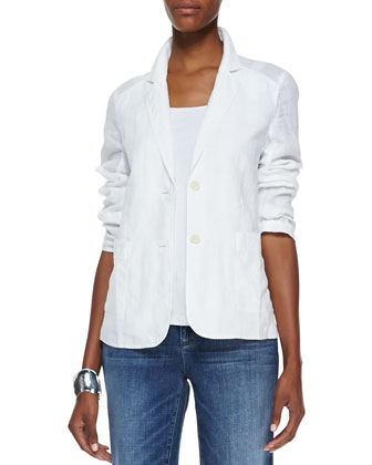 Handkerchief Linen 2-Button Jacket, White, Women's