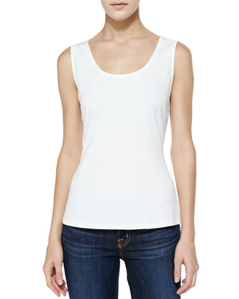 Scoop-Neck Silk Tank, Ivory