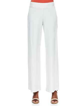 Washable Wide-Leg Crepe Pants, White, Petite