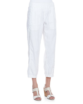 Cargo Linen-Blend Ankle Pants, White, Women's