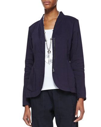 Shawl-Collar Peplum Jacket, Slim Tank & Cargo Linen-Blend Ankle Pants, Women's