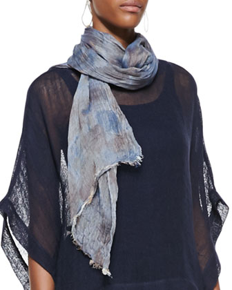 Hazy Printed Scarf, Denim
