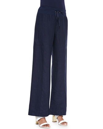 Organic Wide-Leg Linen Pants, Midnight