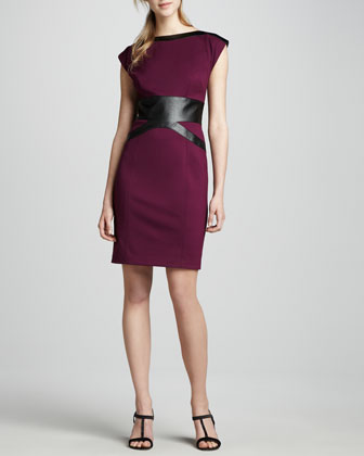 Ponte & Faux-Leather Dress