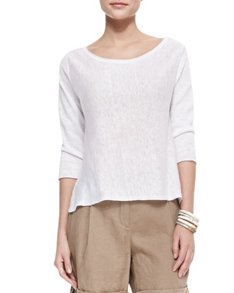 Lightweight Linen Pullover Top & Twill Cuff Capri Pants, Petite