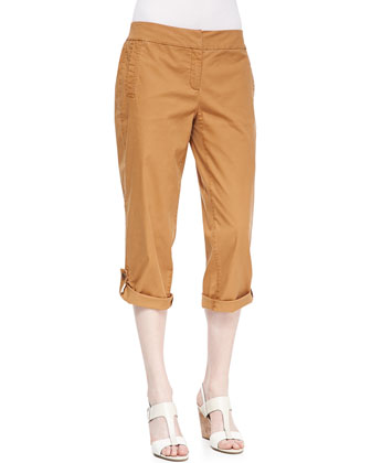 Lightweight Linen Pullover Top & Twill Cuff Capri Pants, Women's