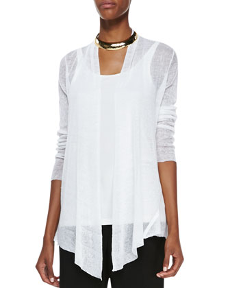 Hemp Mesh Ribbed Cardigan, Women's