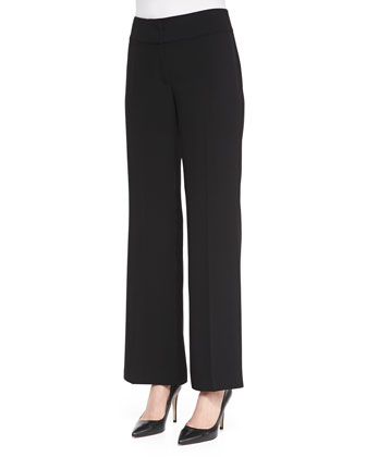 Eco Tropical Suiting Wide-Leg Trousers, Women's