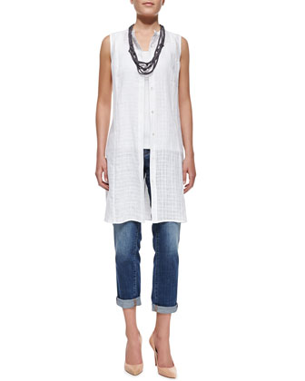 Open-Weave Sleeveless Linen Dress, Slim Tank, Stretch Boyfriend Jeans & ...