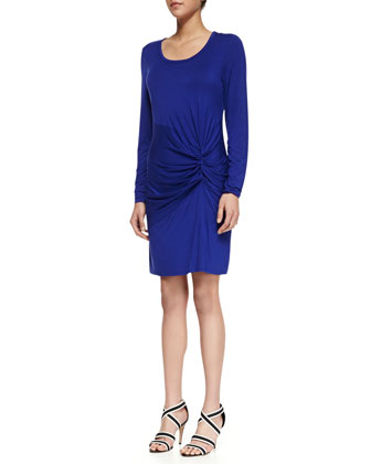 Ruched Front Jersey Dress, Twilight Blue