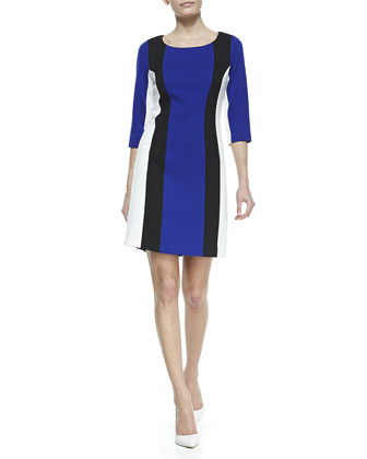 3/4-Sleeve Colorblock Ponte Dress