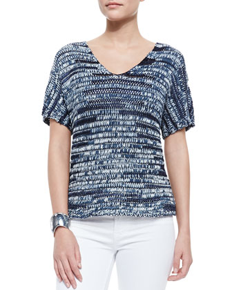 Brushstroke V-Neck Top, Denim