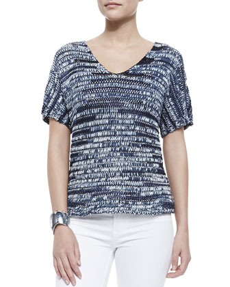 Brushstroke V-Neck Top, Denim, Women's