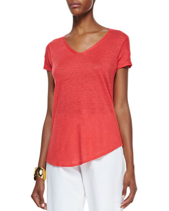 Lightweight Organic Linen V-Neck Top, Petite