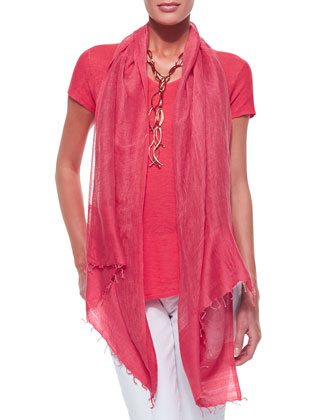 Lightweight Organic V-Neck Top & Color-Tipped Gauze Scarf