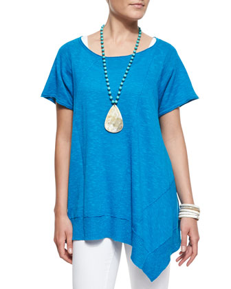 Cap-Sleeve Linen Asymmetric Top, Women's