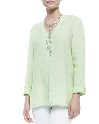Handkerchief Linen V-Neck Shirt, Petite