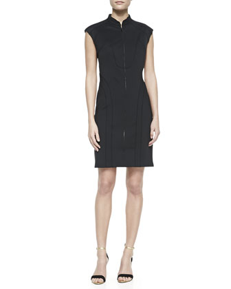 Cap-Sleeve Scuba Sheath Dress