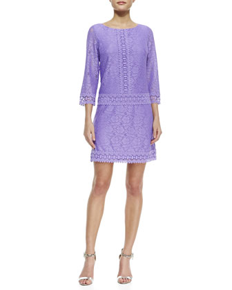 3/4-Sleeve Lace Drop-Waist Dress