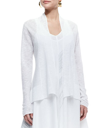 Organic Slub-Knit Cardigan & Sleeveless V-Neck Asymmetric Dress, Petite