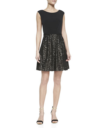 Matte Jersey Top & Sequined Skirt Dress