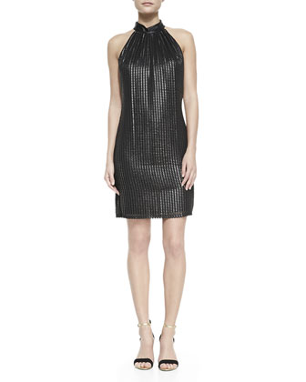 Sleeveless Foiled Trapeze Dress