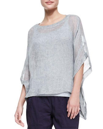 Woven Short-Sleeve Poncho Top, Slim Long Tank, Cargo Linen-Blend Ankle ...