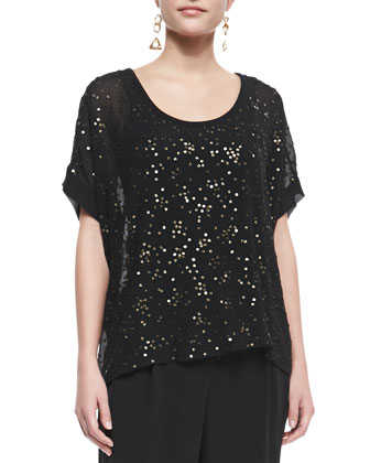 Sequined Chiffon Boxy Top, Black, Petite