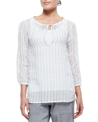 3/4-Sleeve Windowpane Gauze Top, Petite