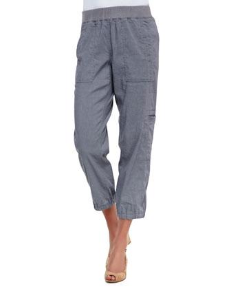 Cargo Linen-Blend Ankle Pants, Pewter, Petite