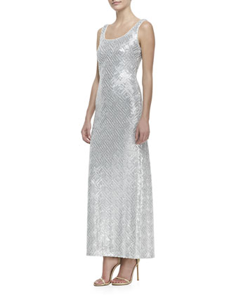 Sleeveless Sequined Long Tank Dress