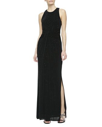 Twisted-Front Sparkle Jersey Gown