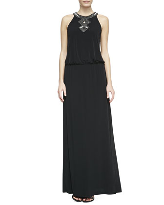 Sequined-Trim Halter Blouson Gown, Black