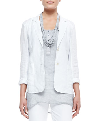 Handkerchief Linen 2-Button Jacket, Midnight, Women's