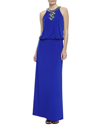 Sequined-Trim Halter Blouson Gown, Twilight Blue