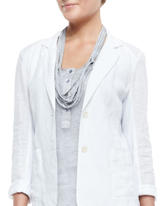 Handkerchief Linen 2-Button Jacket, Sleeveless Mesh Henley Tunic, Slim ...