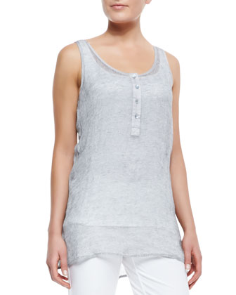 Sleeveless Mesh Henley Tunic, Pewter, Petite