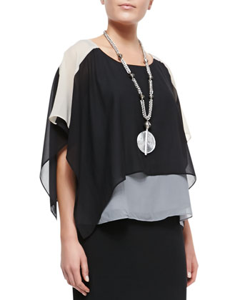 Layered Sheer Colorblock Top, Slim Camisole & Fold-Over Maxi Skirt, Petite