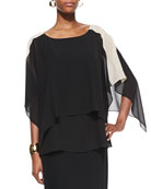 Layered Sheer Colorblock Top, Women's