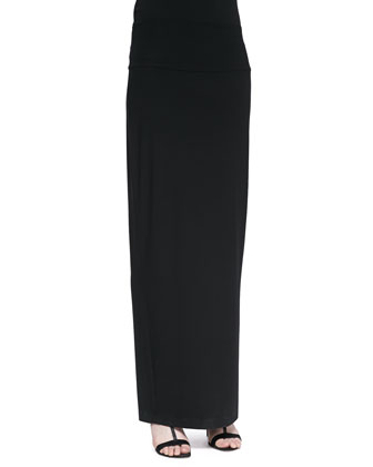 Fold-Over Maxi Skirt, Black, Petite