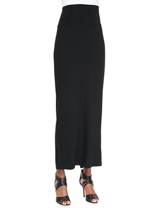 Fold-Over Maxi Skirt, Black, Women's