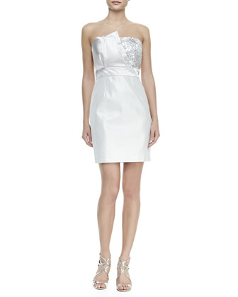 Strapless Folded-Bodice Cocktail Dress, Silver