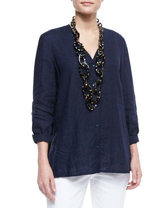 Handkerchief Linen V-Neck Shirt, Women's