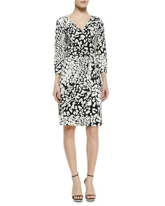 New Julian Two Feather & Leopard Print Wrap Dress