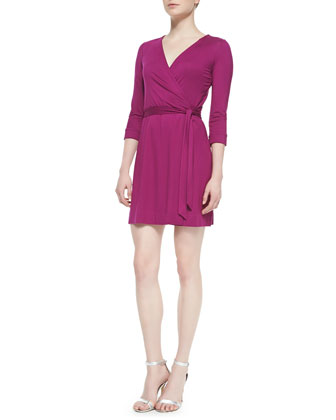 New Julian Two Mini Wrap Dress, Lotus Berry